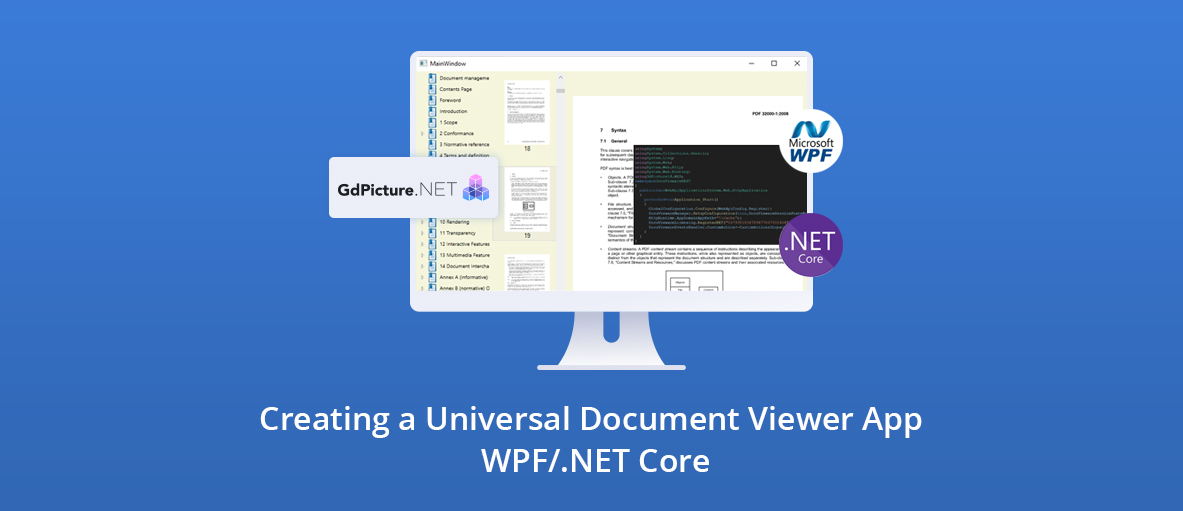 Illustration for the blog article about creating a universal document viewer app using WPF on .NET Core
