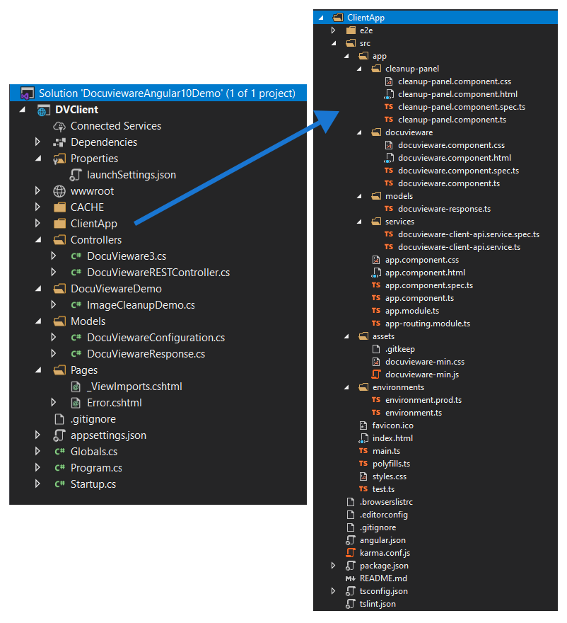 DocuVieware Angular 10 Code Tree screenshot