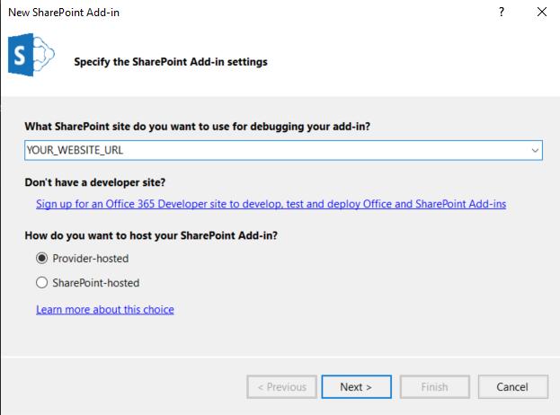 SharePoint Add-in settings screenshot
