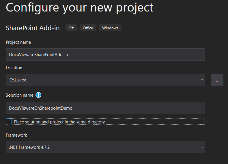 Configure the projects screenshot