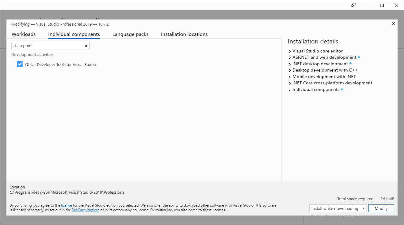 SharePoint add-in screenshot