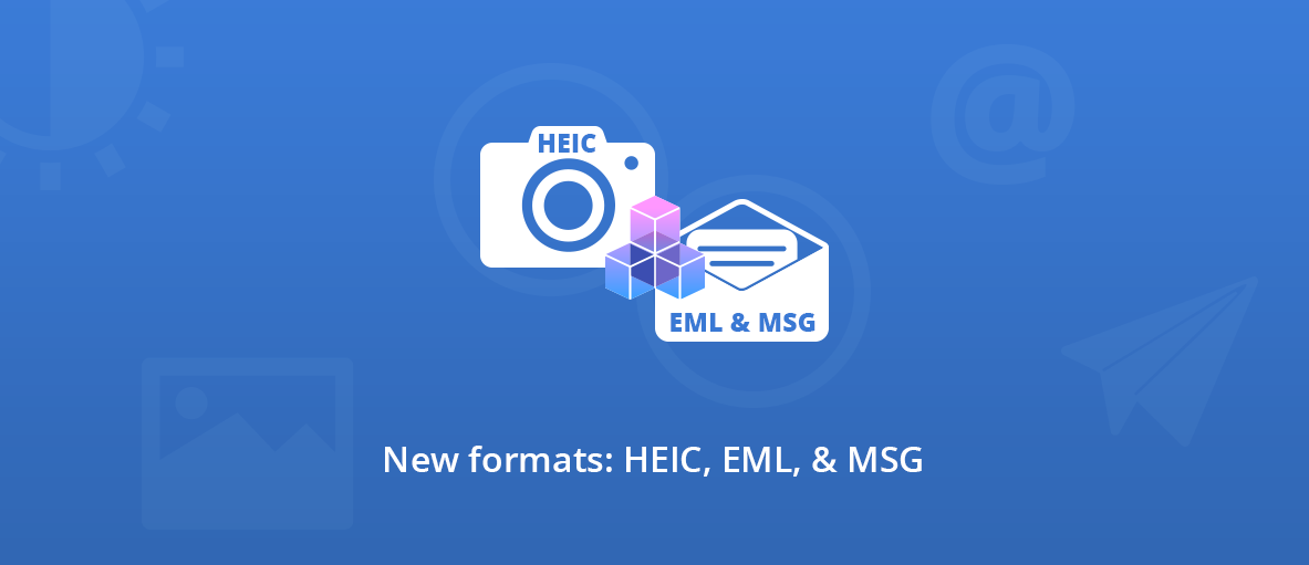 Illustration for the new formats support in GdPicture.NET and DocuVieware SDKs: HEIF/HEIC, EML, and MSG